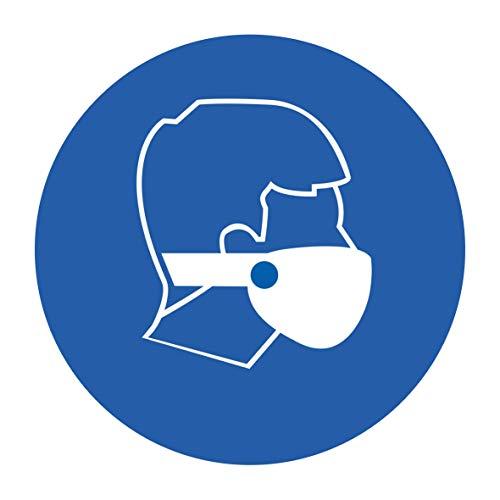 10 Stück Mundschutz Aufkleber Schutzmaske Sticker Ø 9,5cm Gebotszeichen mit UV Schutz Warnzeichen für Außen-und Innenbereich Verbotszeichen von STROBO. (9,5 x 9,5 cm, Mundschutz Aufkleber)