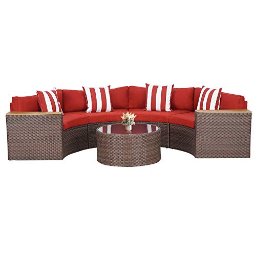 SUNCROWN Outdoor Patio Sofa 5-Piece Half-Moon Sectional Set, All Weather Brown Wicker Conversation Furniture with Tempered Glass Round Table and Thick Cushion (Red)
