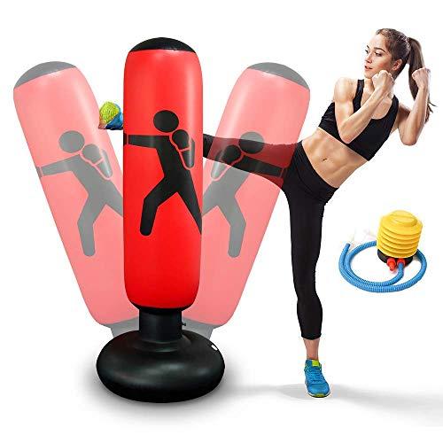 Aufblasbarer Boxsack 160 cm Standboxsack für Kinder Erwachsene Standboxsäcke Trainingsgeräte für Üben Taekwondo, Karate …