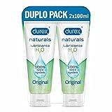 Durex Naturals Lubricante a Base de Agua, 100% Natural sin Fragancia, Colorantes ni Agentes Irritantes – Pack 2 x 100...