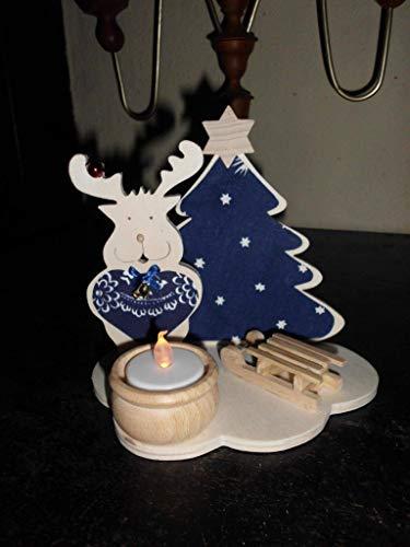 Adventslicht Teelichthalter Weihnachtsdeko Handarbeit Leuchter Holz Holzdeko