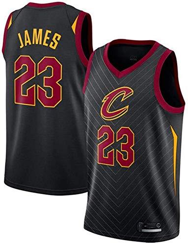Wo nice Camisetas De Baloncesto para Hombre, Cleveland Cavaliers # 23 Lebron James Uniformes De Baloncesto Camisetas Sin Mangas Camisetas Retro Casual Chaleco,Negro,XXL(185~190CM)