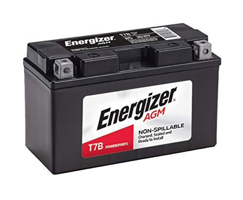 Energizer T7B AGM Motorcycle and ATV 12V Battery, 85 Cold Cranking Amps and 6 Ahr. Replaces: YTX7B-BS and others