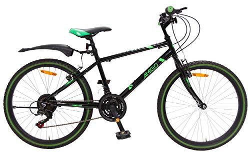 AMIGO Rock - Mountain bike da 24 pollici, per ragazzi, Shimano a 18 marce, adatta a partire da 135 cm, colore: Nero
