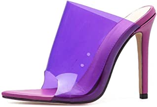 Summer casual women's shoes open toe pointed high heels candy color sandals(Purple,Lable 37/6.5 B(M) US Women)