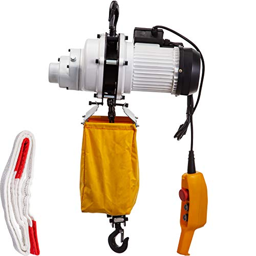 VEVOR Electric Chain Hoist, 2200lbs Capacity Single Phase Crane Hoist, 1T Electric Chain Lift Hoist, 10ft Lift Height, 110V Overhead Chain Hoist with G80 Chain, Swivel Hook, Remote Control for Garage