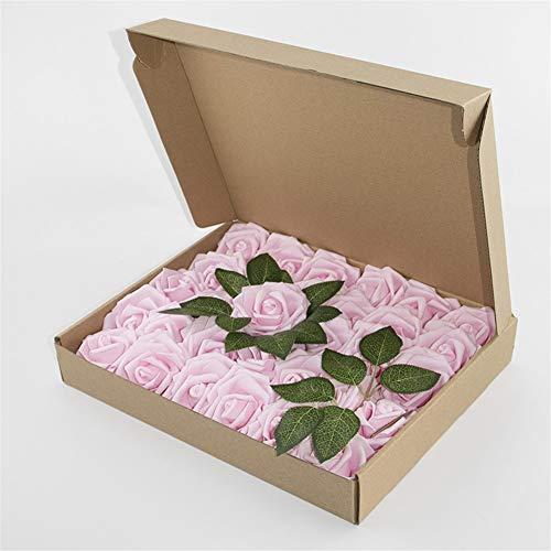 Lifeyz Künstliche Blumen PE Rose geohrfeigt 30 Stück 8cm Mit Rod Foam Künstliche Blumen Hochzeit Bouquet Valentinstag Weihnachtsdekoration (Color : E)