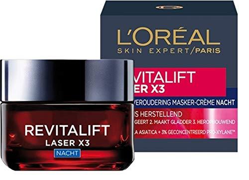 3er Pack - L'Oréal Paris Gesichtscreme (Nachtcreme) - Revitalift Laser X3 - Korrigiert Falten - 50 ml