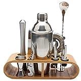 ZTSS Juego de coctelera, Cuchara mezcladora de Jigger Tong, Herramientas de Barman, Soporte de Almacenamiento de Madera, 750ml/550ml, 12 Uds