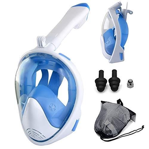GGXX MáScara De Snorkel Plegable Completamente Seca MáScara para Buceo MáScara De Snorkel PanoráMica De 180 ° para Adultos Y NiñOs