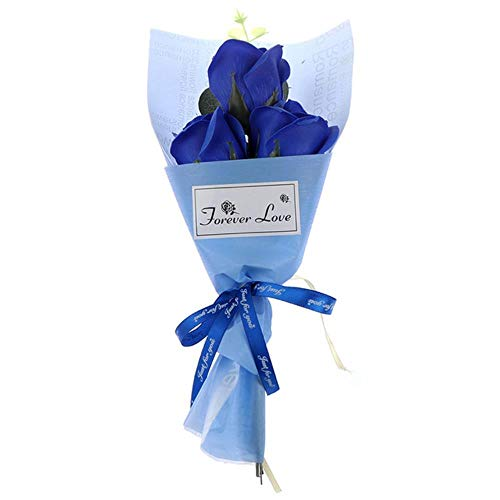 Mooie 3Heads nam Boeket Soap Flower Mother's Day Gift Mini Bouquet Verjaardagscadeau Decor Kunstbloemen,Blauw