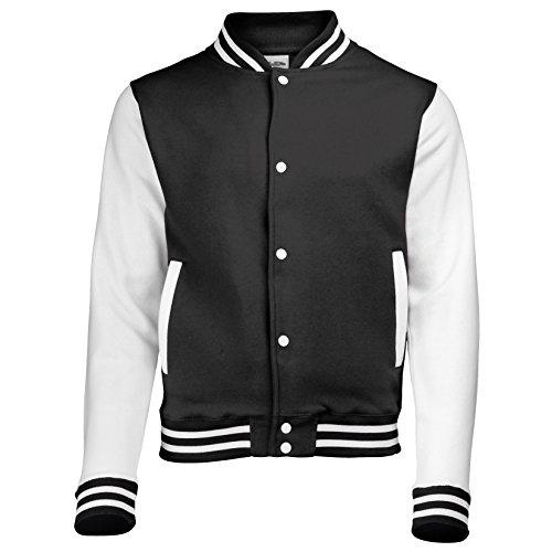 Jacke im Stil einer Uni-/Baseball-Jacke, Unisex Gr. XXL, JET BLACK/WHITE