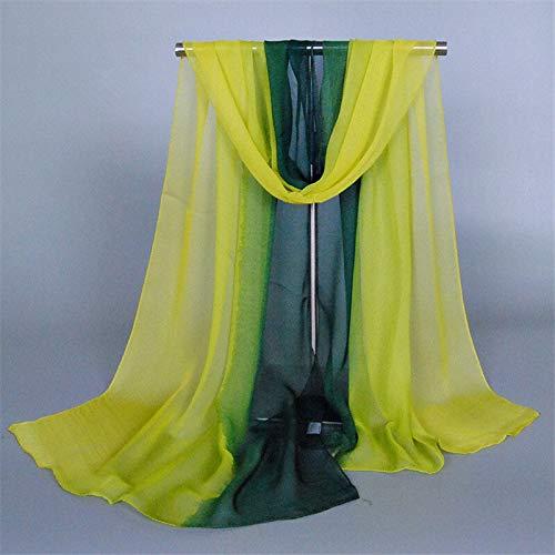 HVTKL nieuw luxe merk sjaal foulard vrouw moslim hijab zijdechiffon vrouwelijke sjaal kleurverloop poncho bandana fashion wrap sjaals
