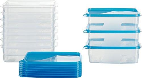 MiraHome Frischhaltedose Gefrierbehälter 1l rechteckig 18x12x6,5cm 10er Set blau Austrian Quality