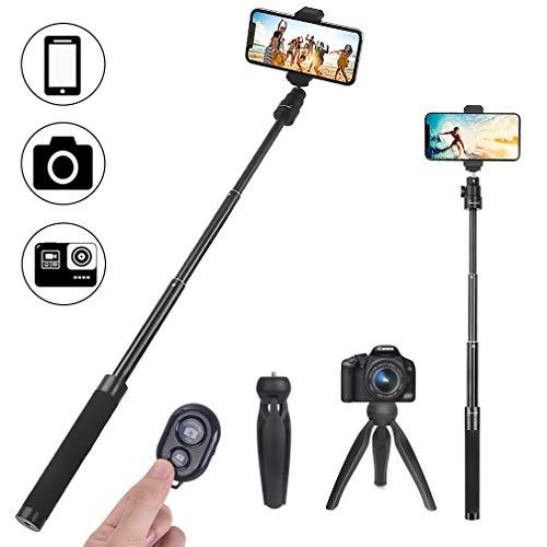 Phinistec Mini Bastone Selfie Stick e Prolunga per Stabilizzatore con Treppiede per Cellulare, iPhone, Telefono, Fotocamera, Gopro con Supporto Cellulare e Adattatore Gopro e Telecomando Bluetooth