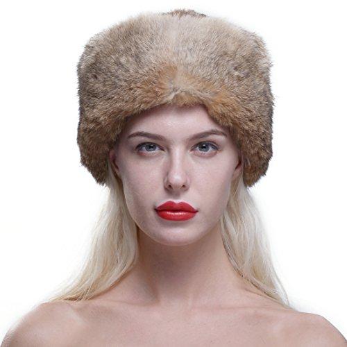 URSFUR Genuine Rabbit Fur Davy Crockett Hat Coonskin Cap with Raccoon Tail Brown