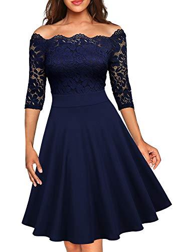 Miusol Elegante Floral Encaje Slim Fiesta Vestido para Mujer Azul Small