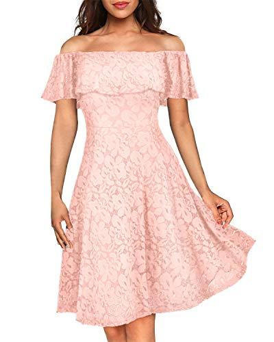 Kidsform Damen Schulterfreies Kleid Elegant Abendkleid Vintage Spitzenkleid Cocktail Party Brautkleider für Hochzeit Ballkleid Rosa 2XL