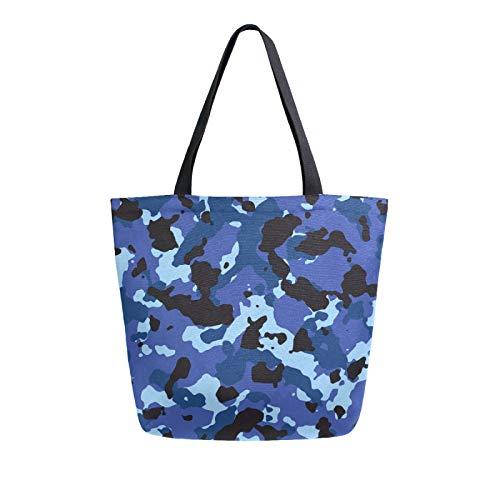 JinDoDo Canvas Bag Blue Camouflage Pattern Reusable Tote Bag Women Handbag for Shopping Travel Beach School