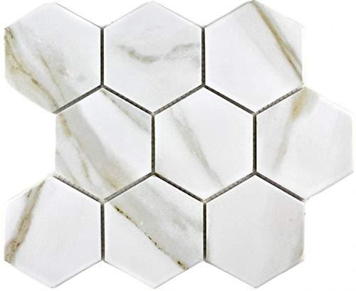 Mosaik Fliese Keramik weiß Hexagon Calacatta Wandfliesen Badfliese MOS11F-0112_f   10 Mosaikmatten