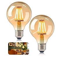【Exquisites Retro-Glühbirne】Diese trendigen Punvot Edison Vintage Glühbirne sind sorgfältig verarbeitet und mit einem schönen Kugelform verziert, rundum 360-Grad-Licht, exquisites und einzigartiges Kugelform Design mit einer guten Kombination auf der...