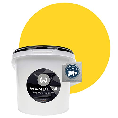 Wanders24® Tafelfarbe (3Liter, kräftige Zitrone) Blackboard Paint - Tafellack - abwischbare Wandfarbe - in 20 Farbtönen erhältlich - Made in Germany