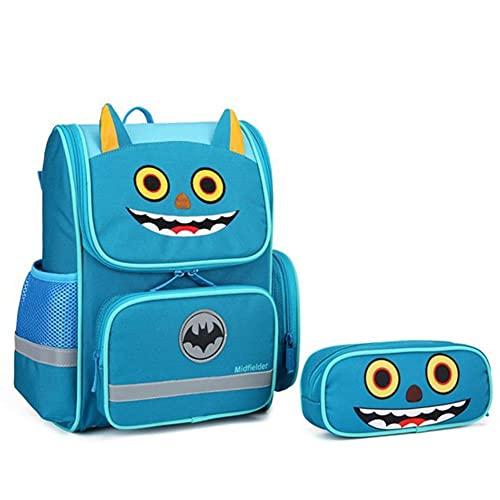 UKKD Schultasche für Kinder Cartoon 3D Unicorn Kids Schultaschen Orthopädische Grundschule Rucksäcke Für Kinder Reflektierende Note Big Book Bag-Light Blue