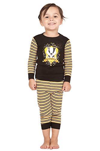 Harry Potter Hufflepuff House Crest Badger Cotton Baby Pajama Gift Set, Hufflepuff, 6MO Yellow