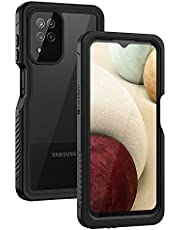 Lanhiem Samsung A12 Case, IP68 Waterproof Dustproof Case with Built-in Screen Protector, Full Body Heavy Duty Shockproof Protective Cover for Samsung Galaxy A12 6.5 Inch (Black/Clear)