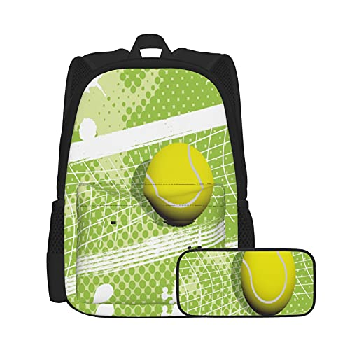 SDBUYW-ZQ Mochila escolarCancha de pelota verde de tenis de red azul jugar deporte abstra, Mochilas para niños, adolescentes, estudiantes universitarios y estuches para lápices, juegos de dos piezas.