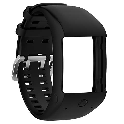 AWADUO Replacement Silicone Wrist Band Strap for Polar M600 Watch, Soft and Durable (Silicone Black)