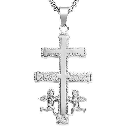 BOBIJOO JEWELRY - Large Pendant Cross of Caravaca Protection, Steel, Silver Gold Plated + Chain - Stainless Steel
