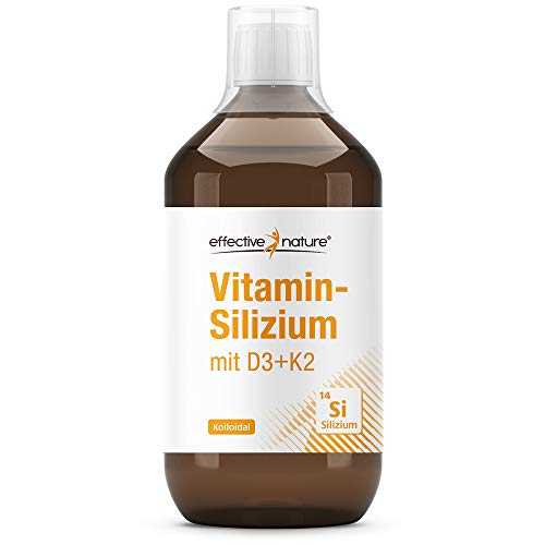 effective nature | Kolloidales Silizium mit D3 & K2| Hoch bioverfügbar – mit Vitamin D3 und K2 | 70 mg Silizium | 75 µg Vitamin K2 | 20 µg Vitamin D3| Glasflasche | Hergestellt in Deutschland | 200 ml