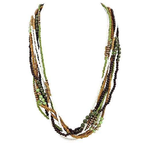 Bocar Long Multiple Strand Handmade Beaded Statement 26' Necklace for Women (NK-10563) (563-mix)