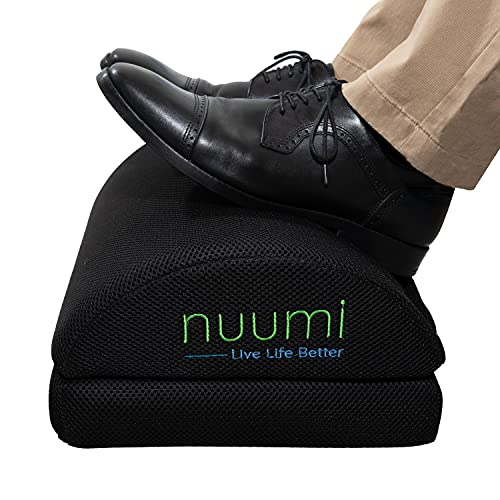 Nuumi Foot Rest for Under Desk at Work, Home or Travel. Ergonomic Memory Foam Foot Pillow with Rocker Function to Improve Circulation. Adjustable for Added Height. Easy Clean Machine Washable Cover