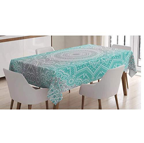 Nappe design gris et turquoise Essence préhistorique et univers Harmony Mandala Ombre Art 140x180cm