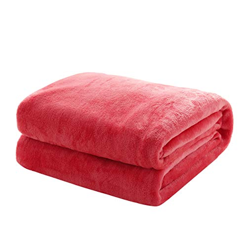 Kuscheldecke Flauschige extra weich & warm Wohndecke Flanell Fleecedecke , Falten beständig/Anti-verfärben als Sofadecke oder Bettüberwurf, Maße Decke Sarah:150 cm x 200 cm, Farbe:Rosa Violett