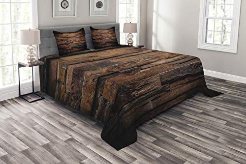 ABAKUHAUS Schokolade Tagesdecke Set, Raue Dunkle Holz, Set mit Kissenbezügen Klare Farben, für Doppelbetten 264 x 220 cm, Dunkelbraun Braun