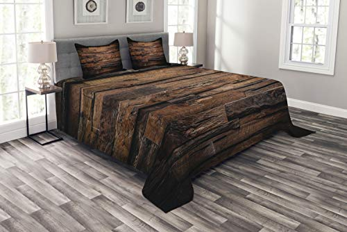 ABAKUHAUS Schokolade Tagesdecke Set, Raue Dunkle Holz, Set mit Kissenbezügen Klare Farben, für Doppelbetten 220 x 220 cm, Dunkelbraun Braun