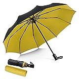 DORRISO Vogue Automático Plegable Paraguas Mujer Hombres Portátil Viajar Paraguas Antiviento Impermeable Unisexo Paraguas Amarillo