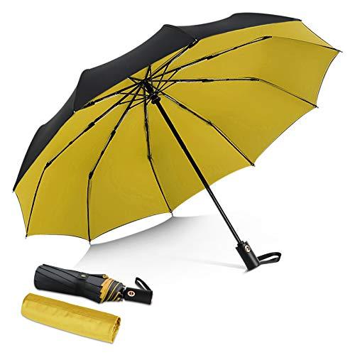 DORRISO Uomo Donna Automatico Pieghevole Ombrello Antivento Impermeabile Anti-UV Asciugatura Rapida Viaggio Ombrello Grande Ombrello Giallo