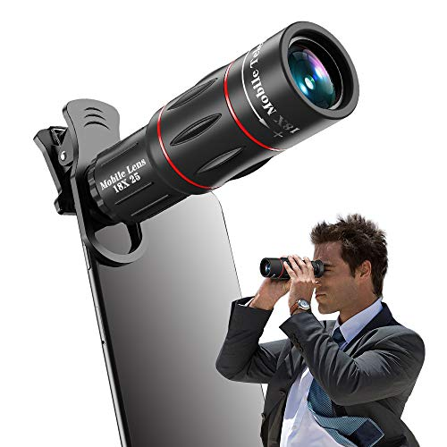 Apexel Phone Telephoto Lens Universal 18X Monocular Telescope with Clamp Compatible with All iPhones Including iPhone 11,Pixel,Samsung and Most Android Phones