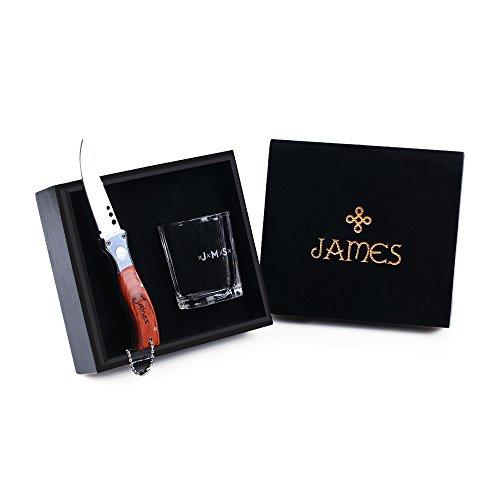 Unbekannt Personalisierte Schnapsglas & Taschenmesser - Geschenke für Männer mit Geschenkbox - Ausgefallene Geschenke für Männer, Vater, Trauzeugen