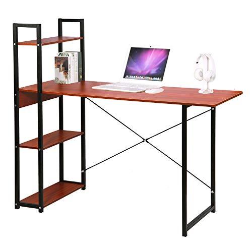 Mesa de escritorio de madera con marco de acero y 4 estantes de almacenamiento para montar tú mismo, ordenador portátil, escritorio de estudio, mesa de trabajo para oficina en casa