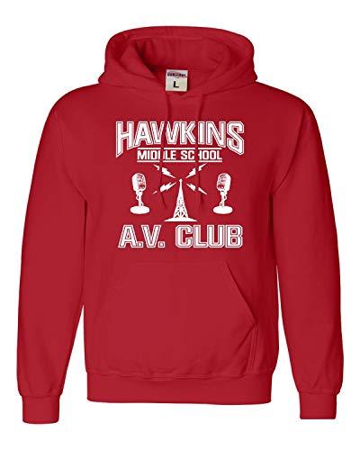 Small Red Adult Hawkins Middle School AV Club Sweatshirt Hoodie