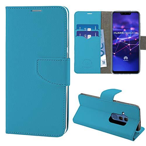 NewTop Cover Compatibile per Huawei Mate 20/Lite/PRO, HQ Lateral Custodia Libro Flip Magnetica Portafoglio Simil Pelle Stand (per Mate 20 Lite, Azzurro)