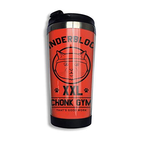 Chonk Gym Unisex Taza de viaje de café con tapa Taza de vidrio aislada al vacío de acero inoxidable 13.5 oz