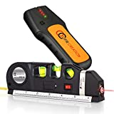 OFIRCREATION 3 in 1 Laser Level Cross Line Ruler And Measuring Tape Multipurpose Picture Hanging, Woodworking, Contractor Tool Imperial & Metric Measurements Vertical Horizontal (With Stud Finder)
