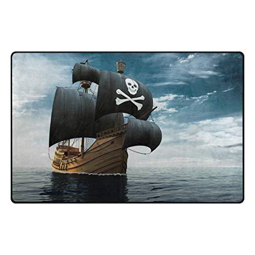 Chic Houses Alfombra de área para dormitorio, barco pirata, océano, personalidad, antideslizante, para salón, comedor, dormitorio, decoración de habitación, 60 x 39 pulgadas 2030400