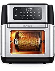 Innsky Heteluchtfriteuse hetelucht-bakoven, 10 liter, 1500 W, mini-oven, 10-in-1 heteluchtfriteuse met digitaal led-display, fruitdehydrator, barbecue, 6 accessoires en receptenboek - roestvrij staal